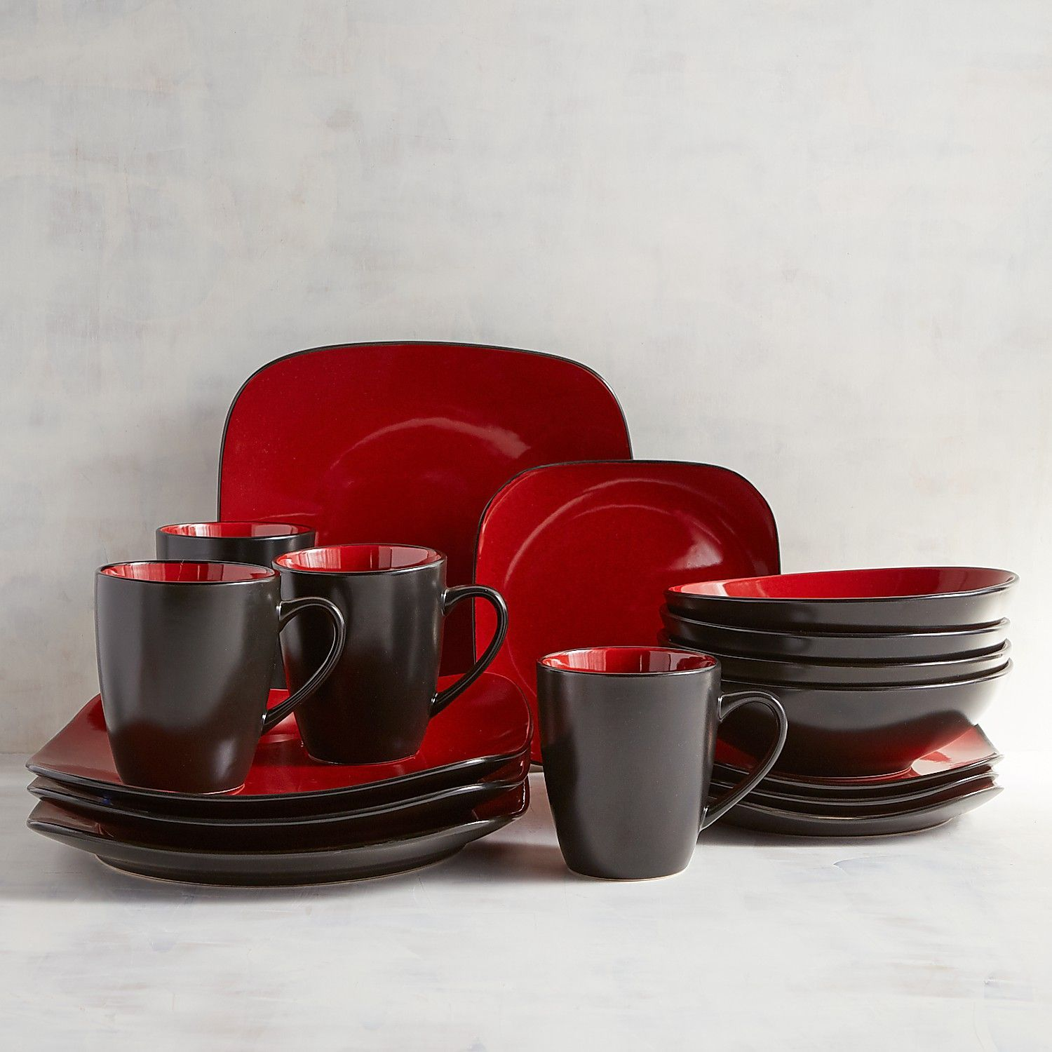 Red Reactive Rounded Corner 16 Piece Dinnerware Set Square