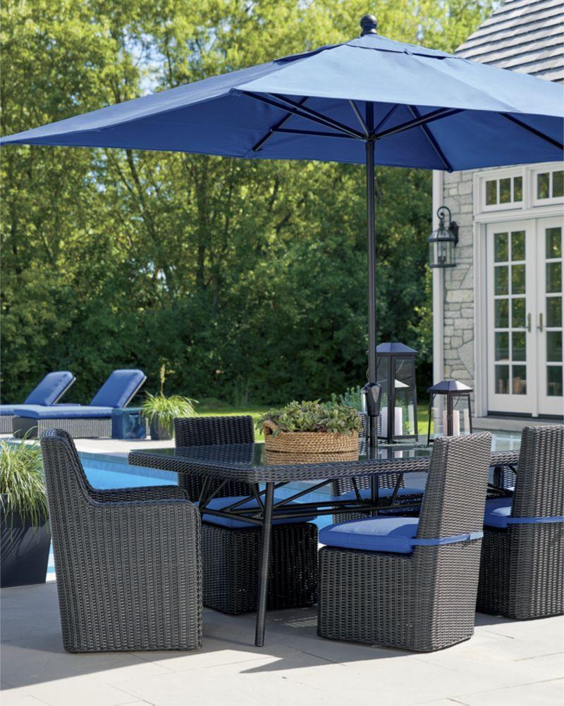 mediterranean blue patio umbrella with