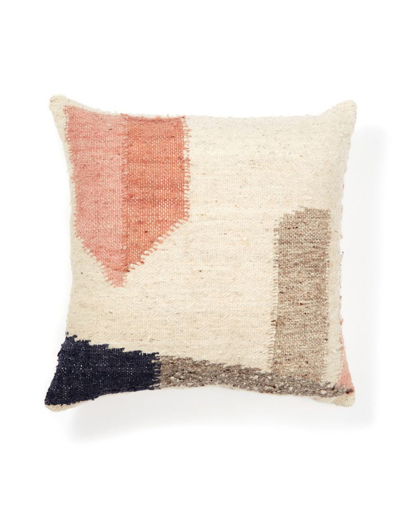 <div>The Formas II pillow was inspired by 'organic geometry.' Slightly imperfect geometric forms in cool grey, pale peaches and a midnight blue make this pillow easy to incorporate into any room. The Formas series was designed to play nicely with their shaggy siblings. Pile 'em on the bed or couch. Handwoven by skilled artisans in Totonicapan, Guatemala. Made of 100% wool, with a cotton backing. Due to the nature of handcrafted goods, each pillow may differ slightly. No retu...