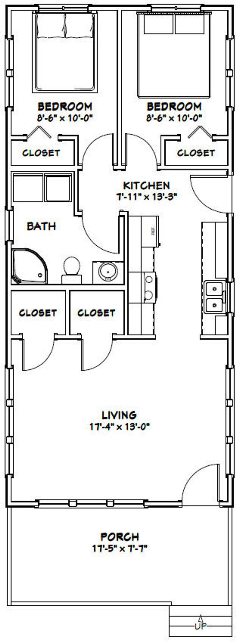 18x40 House 2 Bedroom 1 Bath 720 Sq Ft Pdf Floor Plan Instant Download Model 4g In 2021 Tiny House Floor Plans Shed Plans Wood Shed Plans
