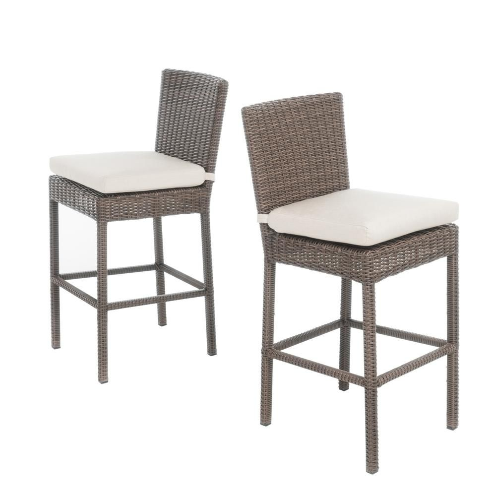 Noble House Rachel Wicker Counter Height Outdoor Bar Stool 2 Pack 299515 The Home Depot Outdoor Bar Stools Dining Chairs Outdoor Dining Chairs