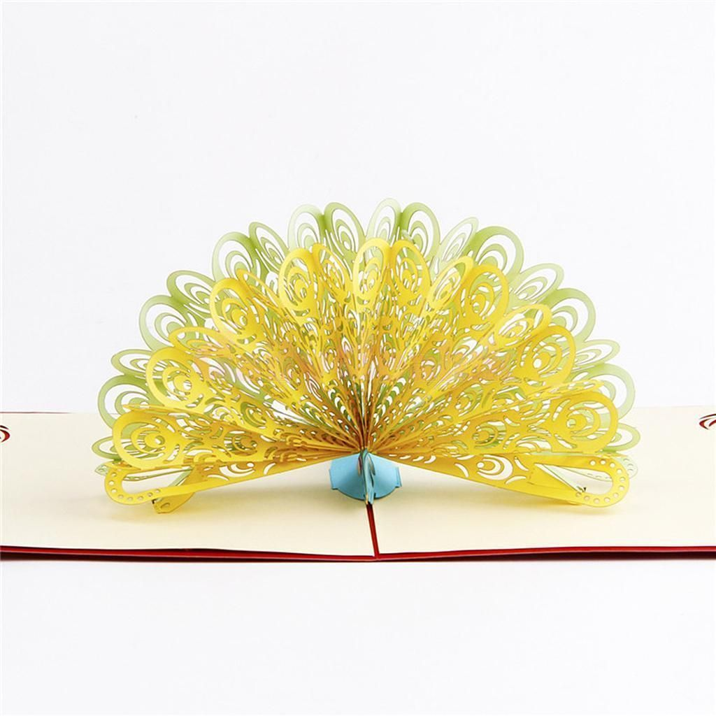 Handmade wedding invitation d pop up flower greeting cards peacock