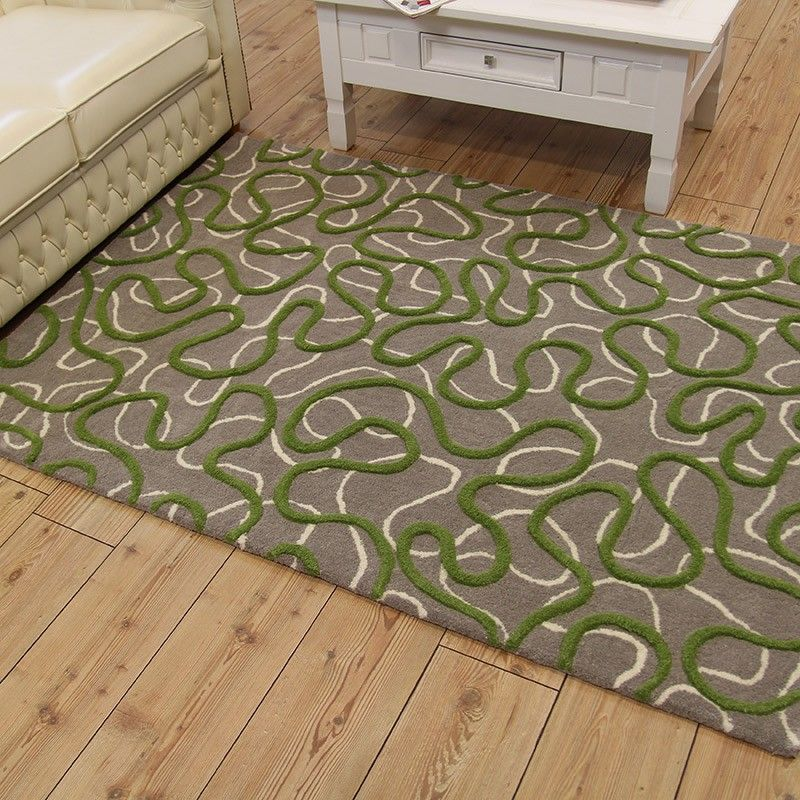 Green Squiggle Wool Rug Grey Background | Land of Rugs