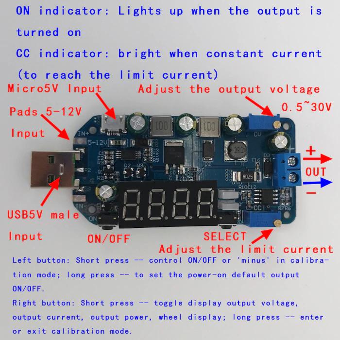 DC 5V to 1V 12V 24V 15W Adjustable Power Supply USB Step Up Down Voltage Module