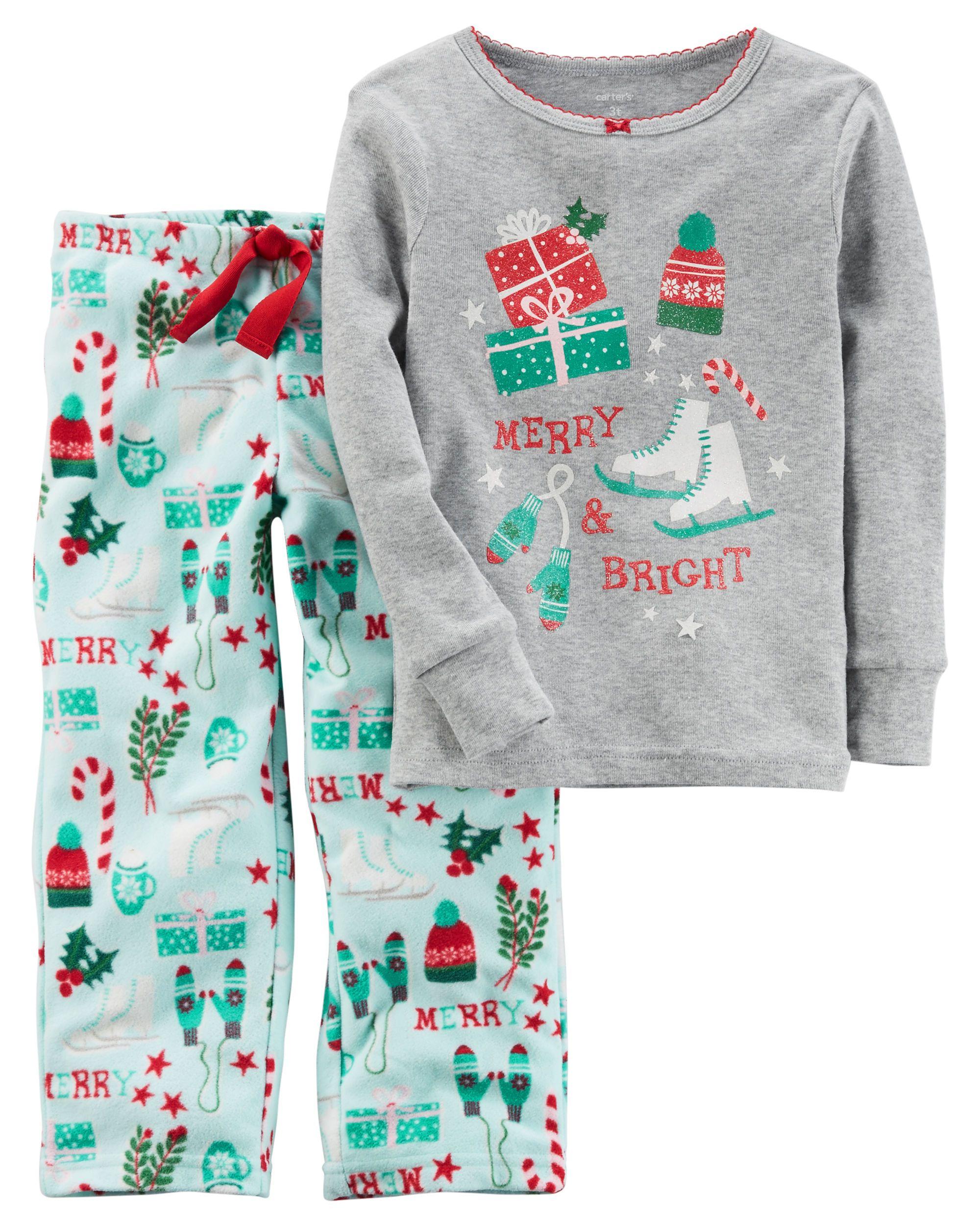 9e69a3544 2-Piece Christmas Cotton   Fleece PJs