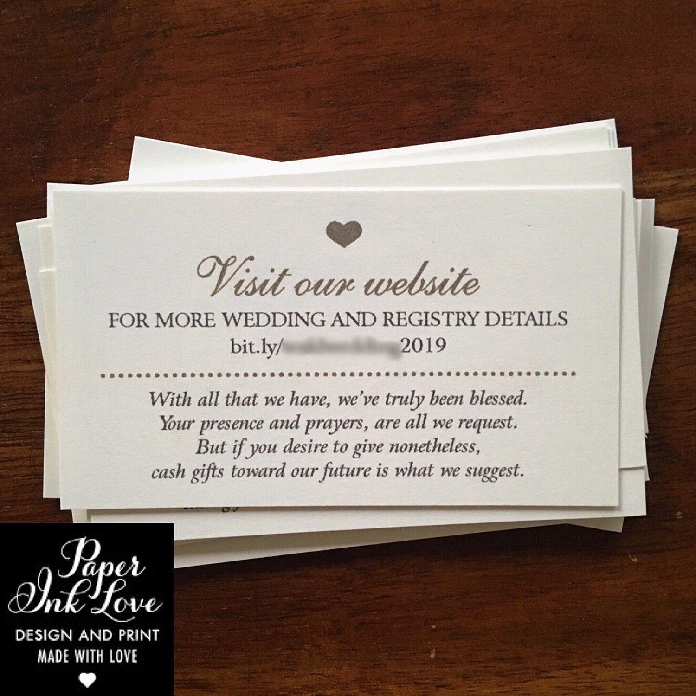 Wedding Website Enclosure Card Invitation Inserts With Etsy Wedding Website Card Wedding Registry Money Honeymoon Fund Wording