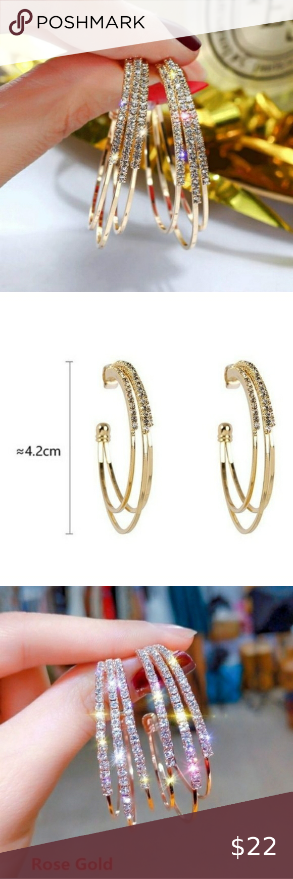 Sparkly Multilayer Hoop Earrings Multilayer Round Hoop CZ Earrings Shiny  Spa Sparkly Multilayer Hoop Earrings Multilayer Round Hoop CZ Earrings Shiny  Sparkly Choice of...