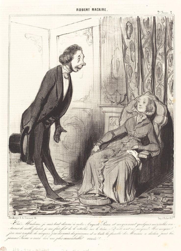 Oui, Madame, je suis tout dévoué a notre... Prince... | Honoré Daumier, Oui, Madame, je suis tout dévoué a notre... Prince... (1841)