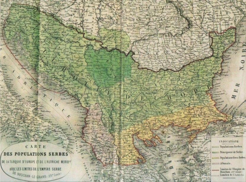 Dushanovo Carstvo Po Francuzima 1862 Godina Zvanichan Naziv Karte