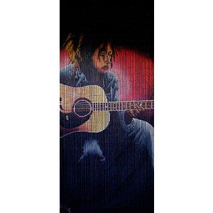 Bamboo door beads with guitar-playing Bob Marley image