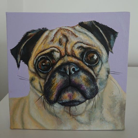 PUG with cookie print of my original artwork colorfull bully portrait pet portray dog painting art picture humourous cute