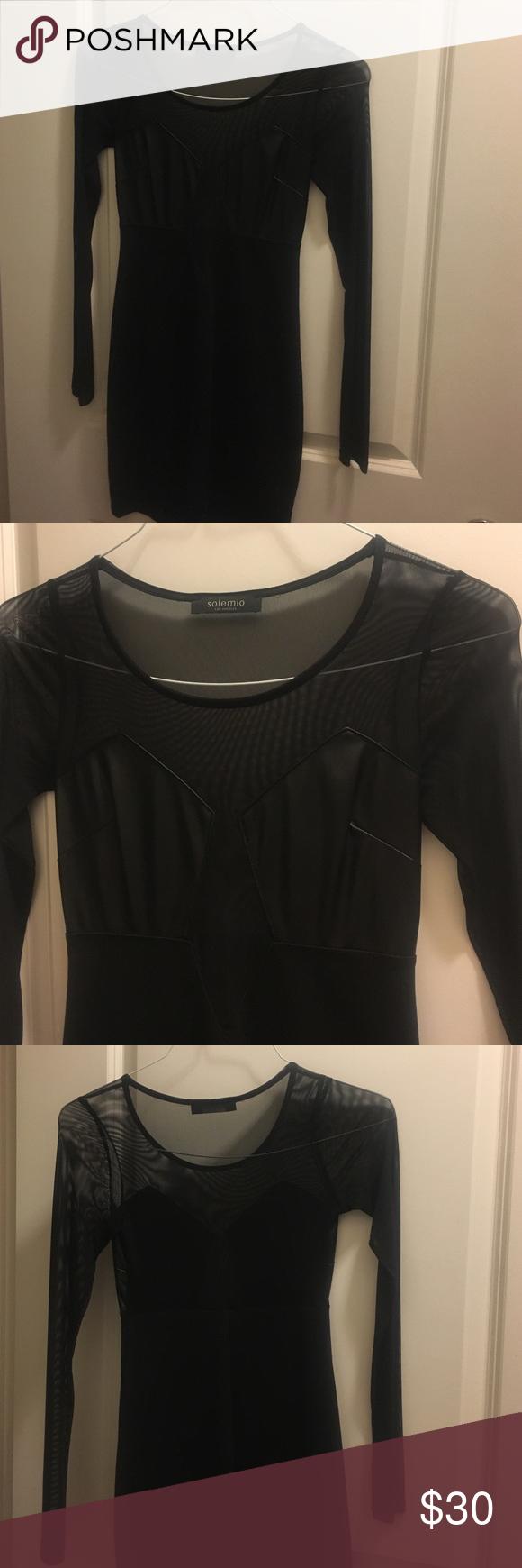Black mesh long sleeve bodycon dress my posh picks pinterest