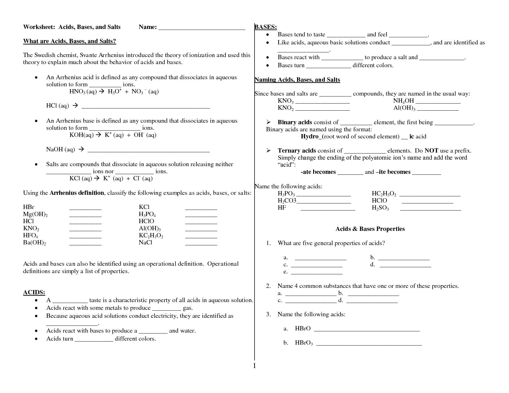 Acids Bases And Salts Worksheet for Pinterest Acids