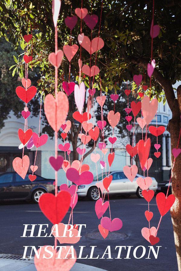 Tree Heart Installation Valentines Diy Valentine Decorations Valentine S Day Diy