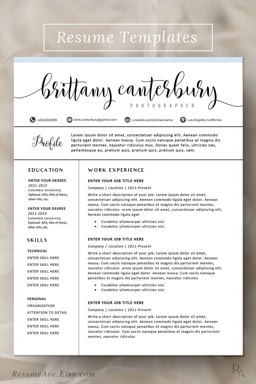 Modern Resume Template Word Sorority resume template with