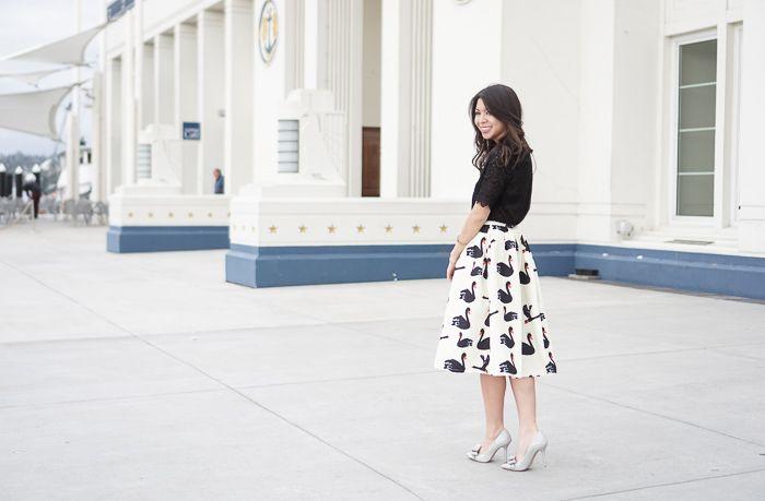 d7d78c119b899 Swan Print Midi Skirt and Black Lace Top