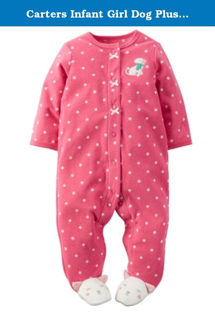 43ecb1f3f664 Carters Infant Girl Dog Plush Sleeper Pink Polka Dot Slee…