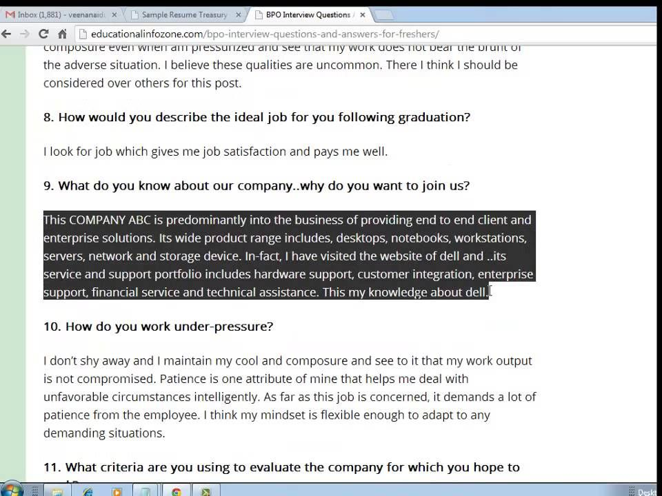 BPO (call center) Interview Questions And Answers For Freshers - resume questions and answers