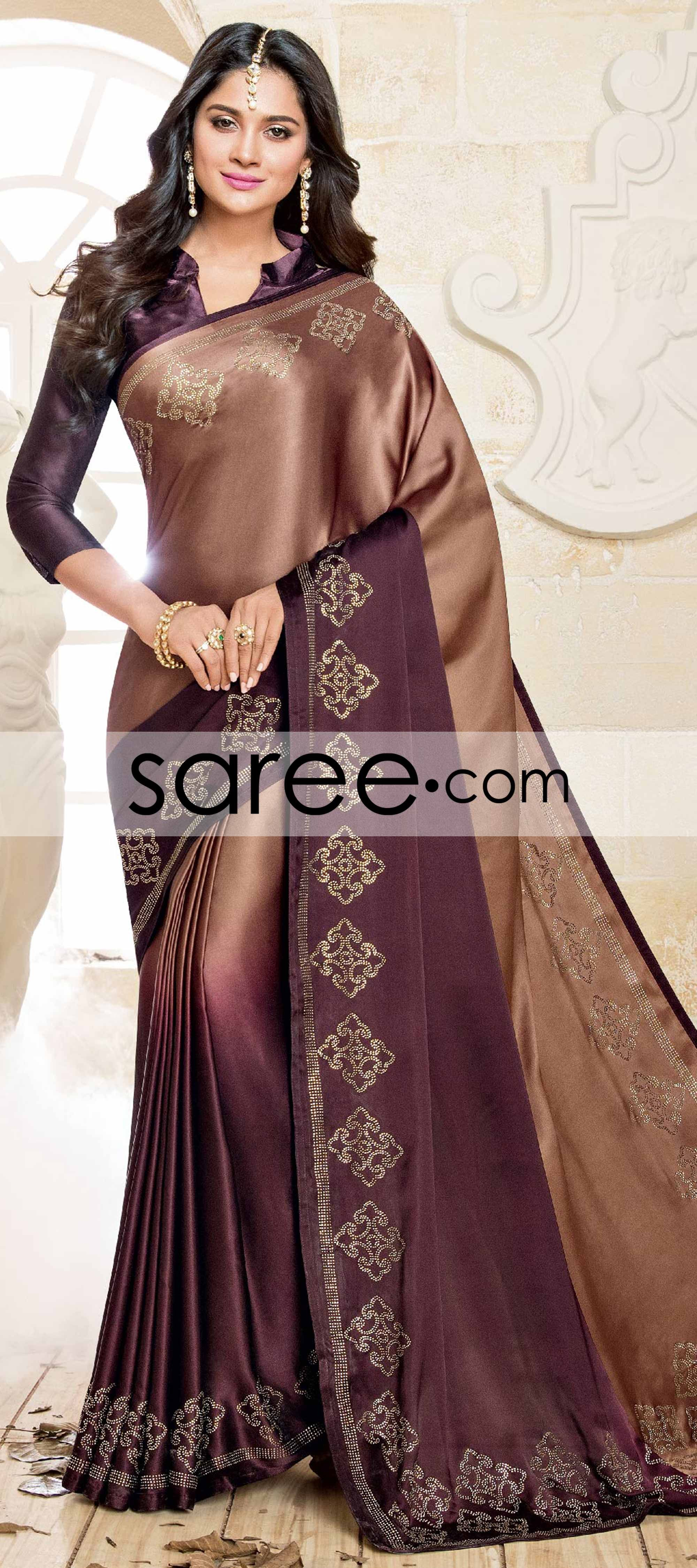 80167068c509a Brown and Purple Ombre Satin Silk Saree with Stone Work