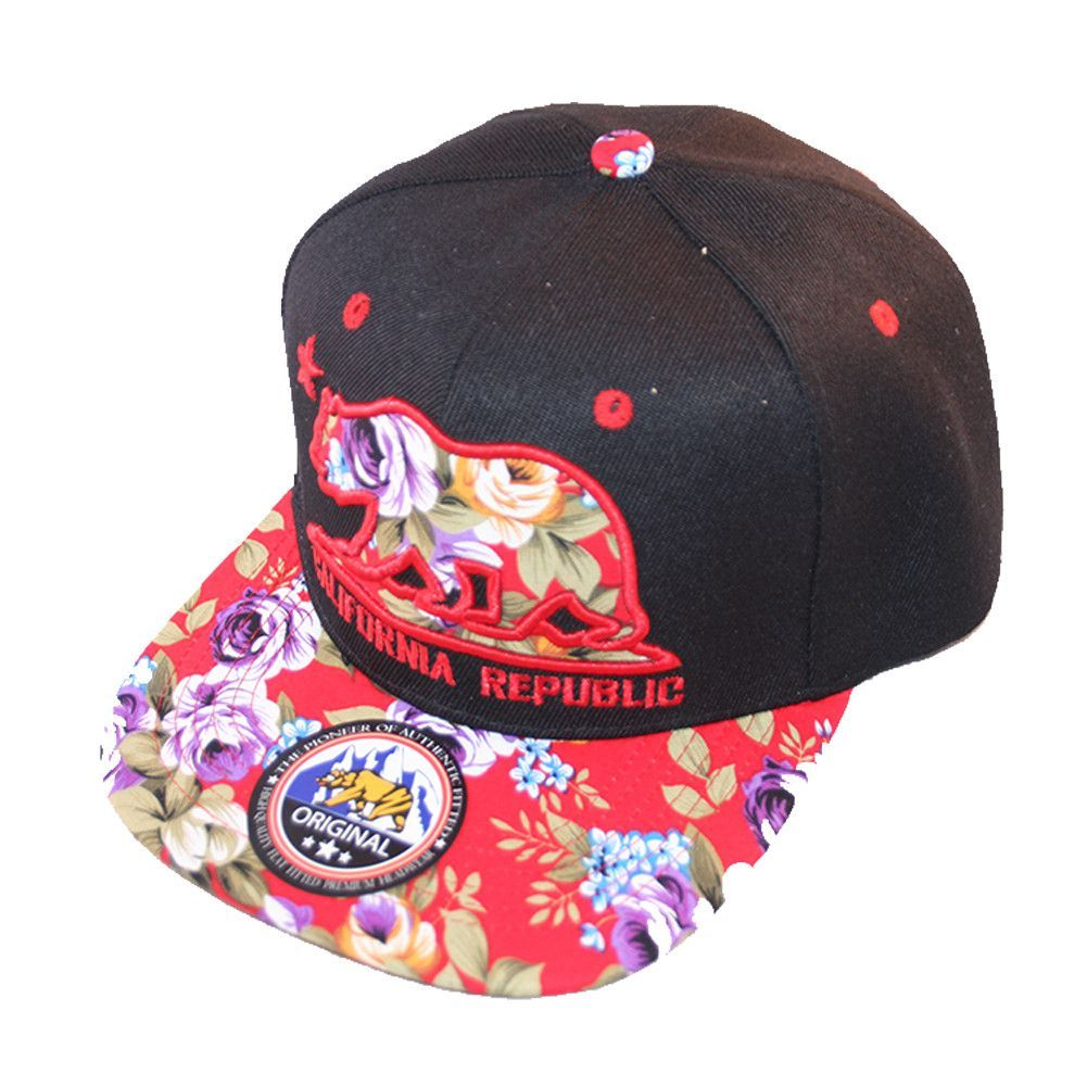 "Loyal Cloth Bear Floral with ""California Republic"" Snapback Cap"