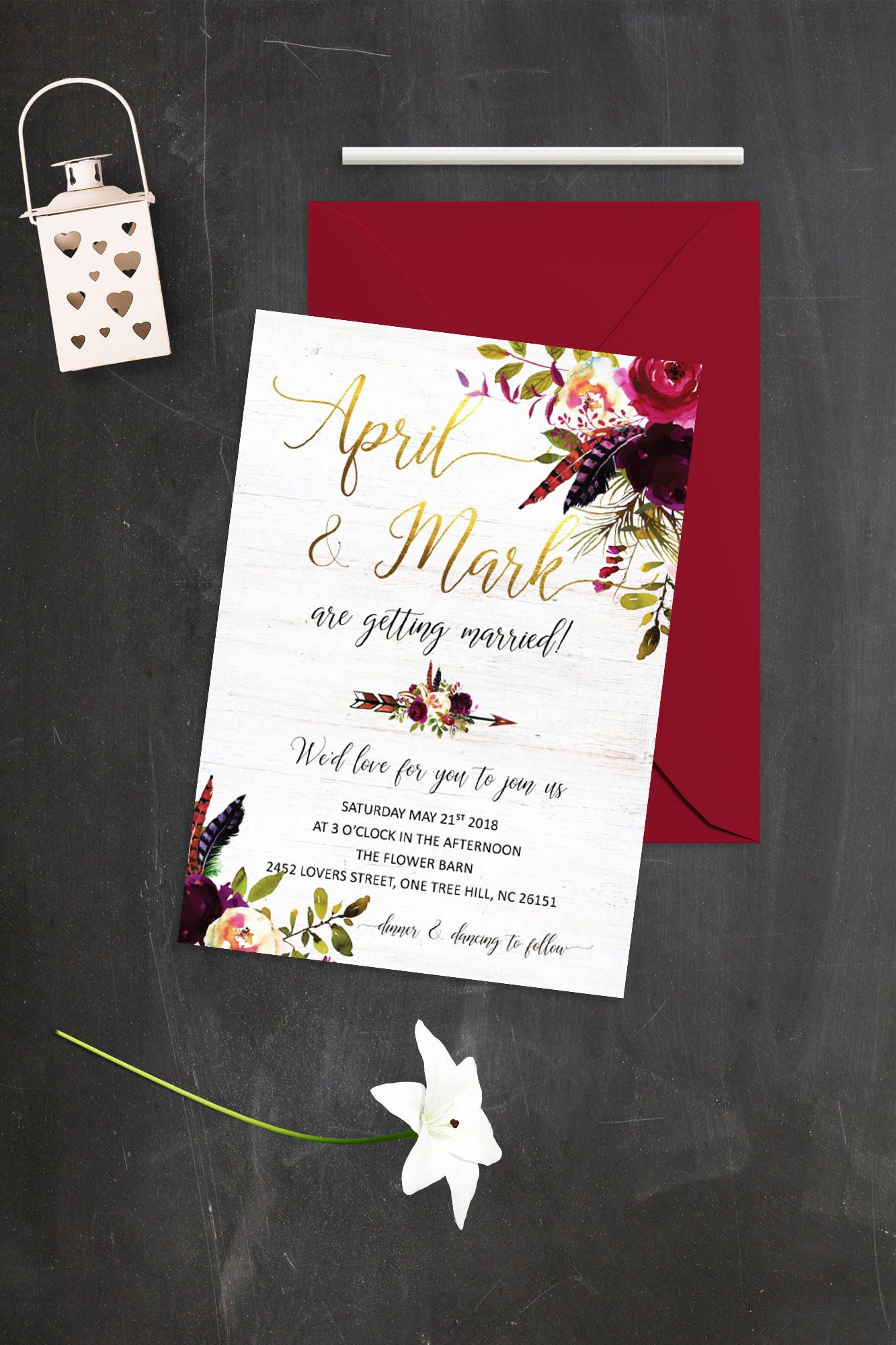 Floral Wedding Invitation Burgundy and Gold Wedding Invitations ...