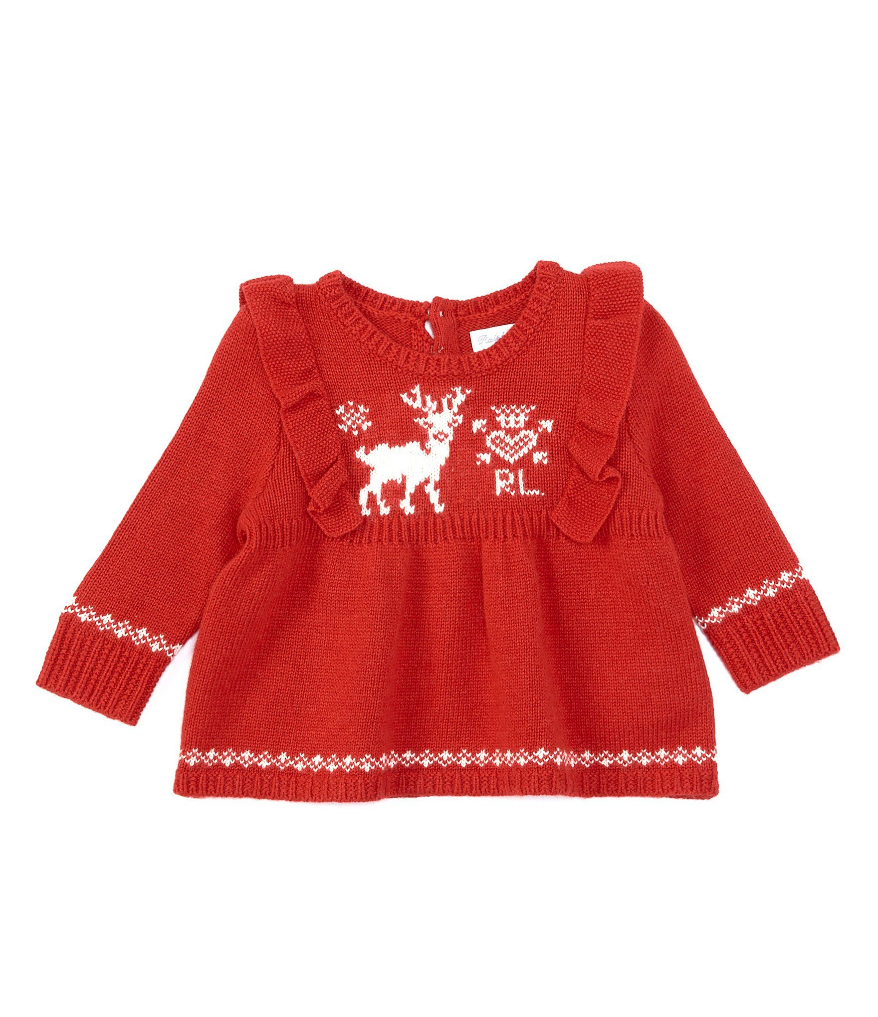 Photo of Ralph Lauren Childrenswear Baby Girls 3-24 Months Pointelle Cable-Knit Holiday Sweater – RL2000 Red 9 Months