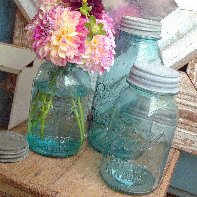 Vintage Blue Ball Perfect Mason Jars by CuriosityVintage.