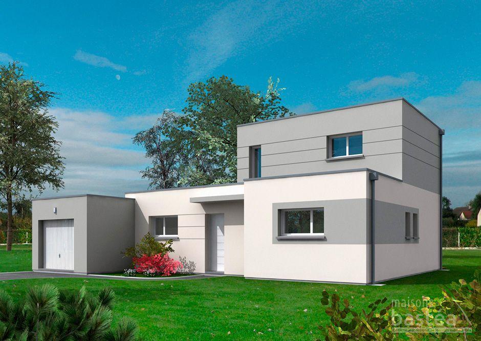 Aurelia maison cube toit plat avec garage par maisons bastea plan maison toit plat et plan for Maison toit plat etage