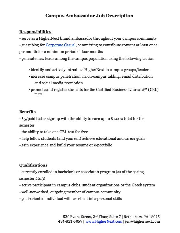 Resume Job Descriptions Campus Ambassador Job Description Resume  Httpresumesdesign