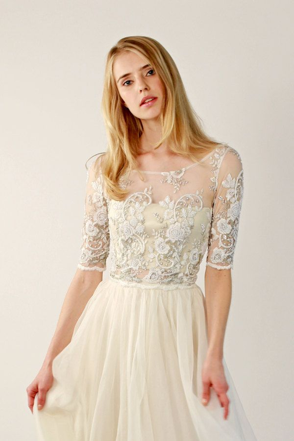 Beaded Lace Wedding Top Separate Fontaine Half Sleeve
