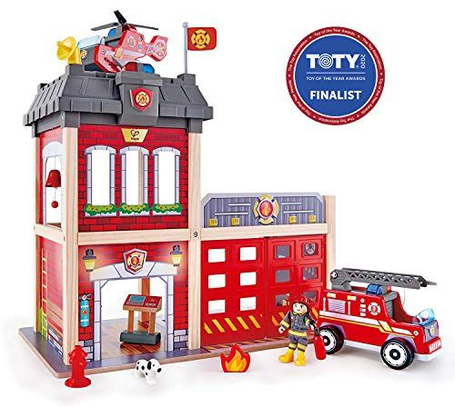 Hape Fire Station Playset Wooden Dollhouse Kid's Toy Stimulates Key Motor Skills and Promotes Team Play E3023