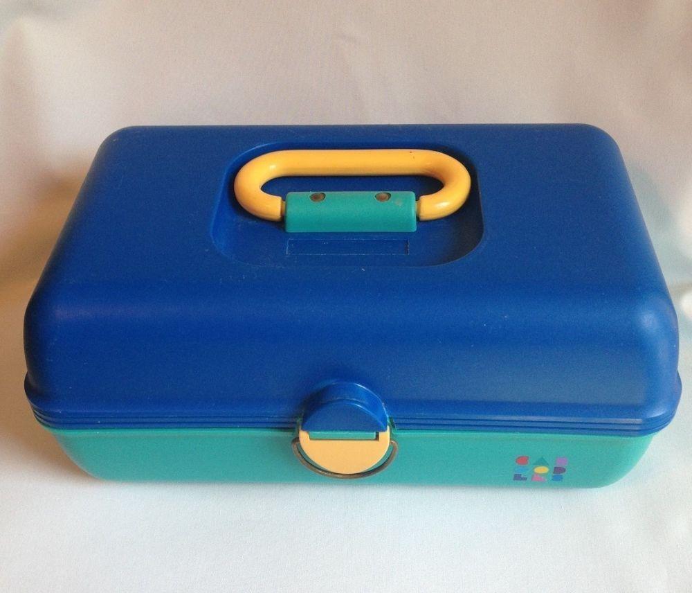 Vintage Caboodles Makeup Train Case Model 2602 Blue Yellow Teal