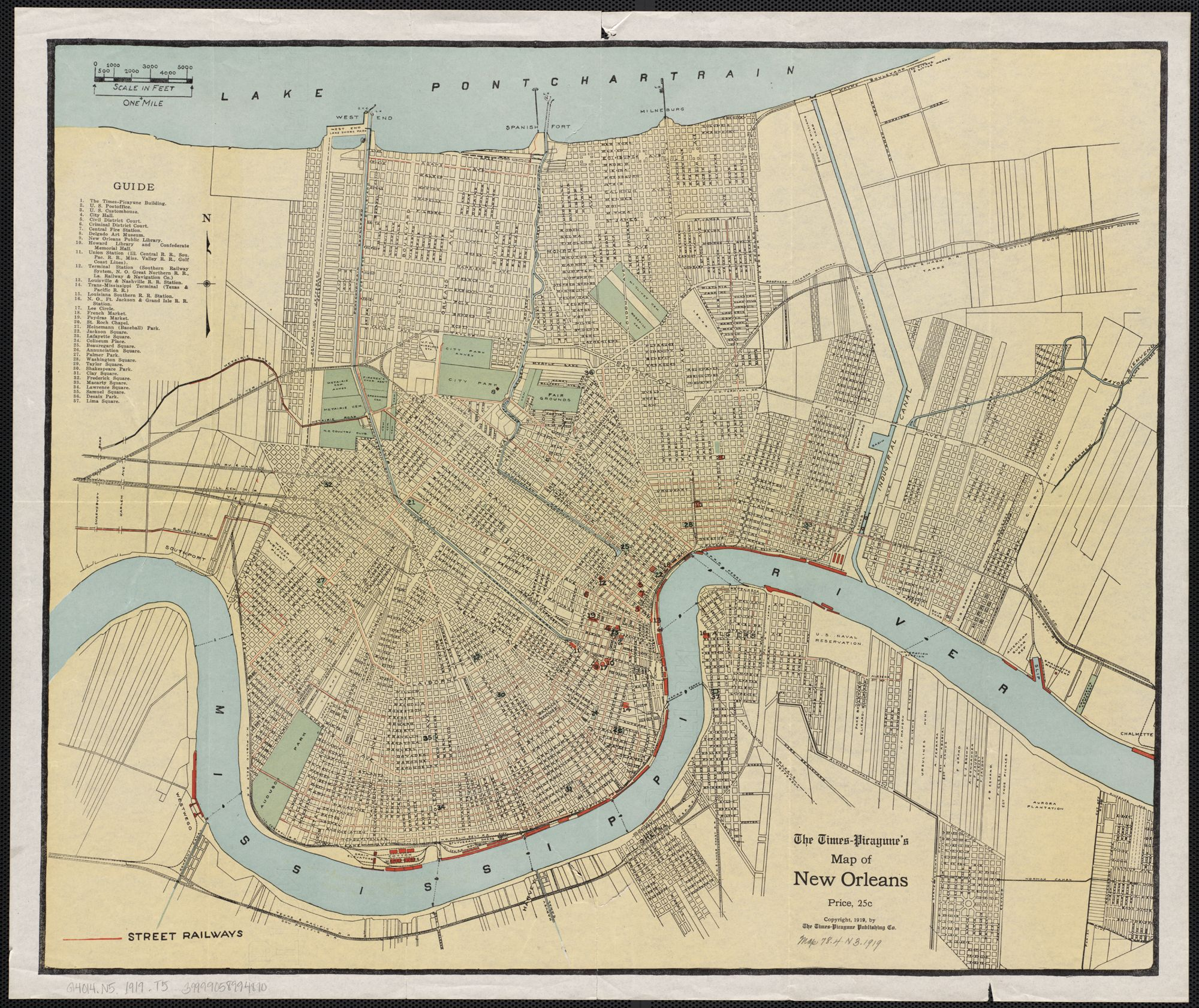 Map of NOLA via TimesPicayune 1919 public domain image Katrina