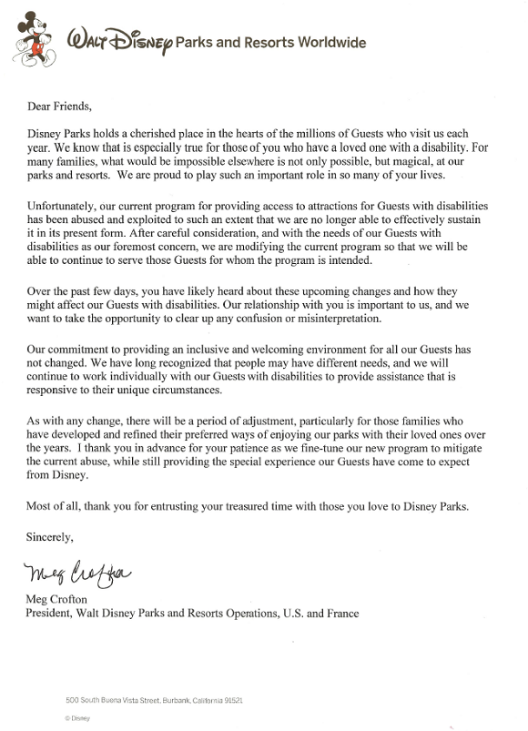 A Letter From Meg Crofton Regarding Changes to Disney's Guest Assistance Card Program | ResourcefulMommy.com