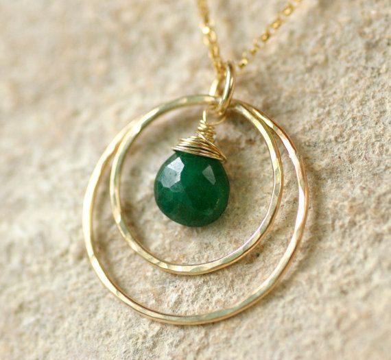 Emerald necklace May birthstone necklace gold by ILoveHoneyWillow, $79.00