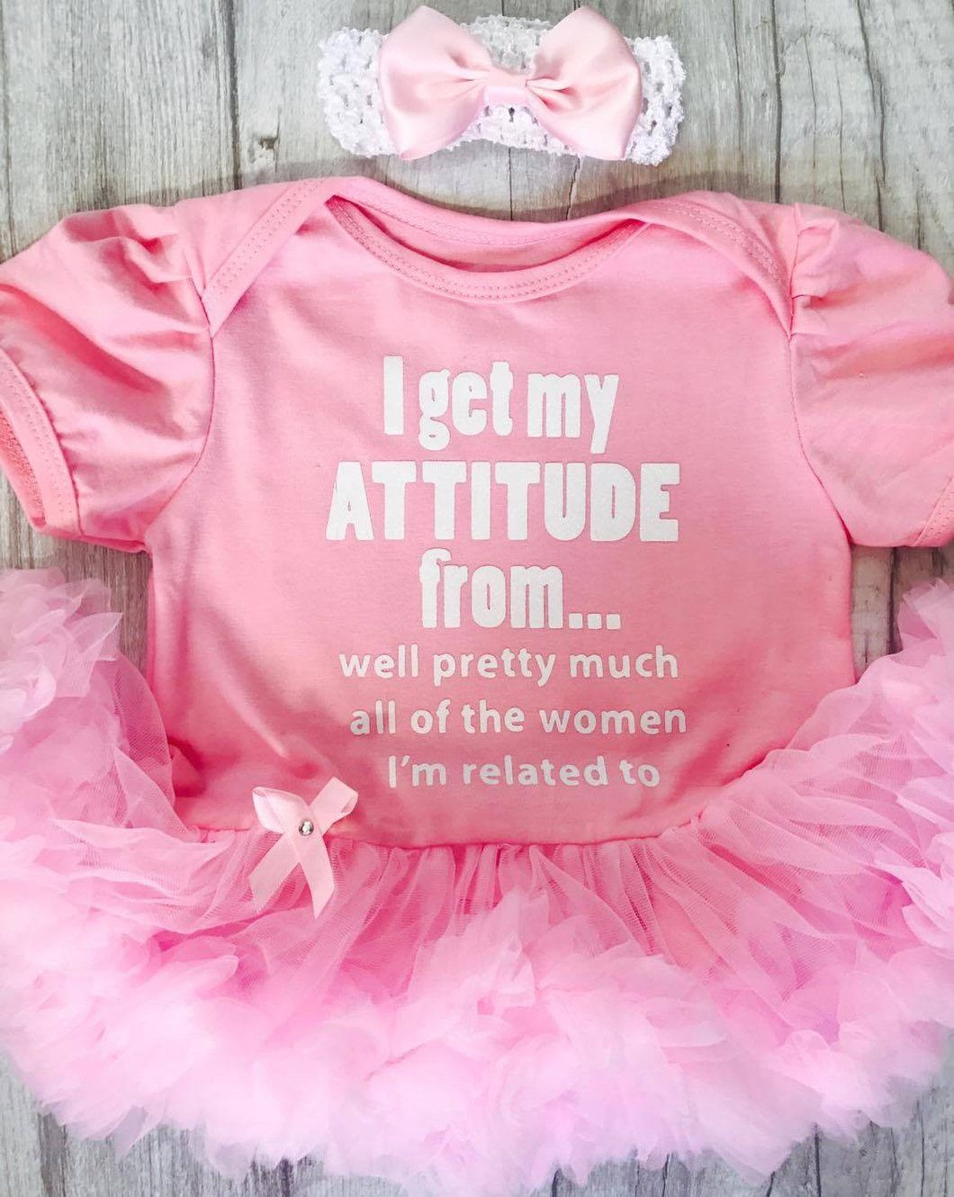 9be161a4767ac Funny cute Attitude quote on light pink baby girls tutu romper with  matching head band.