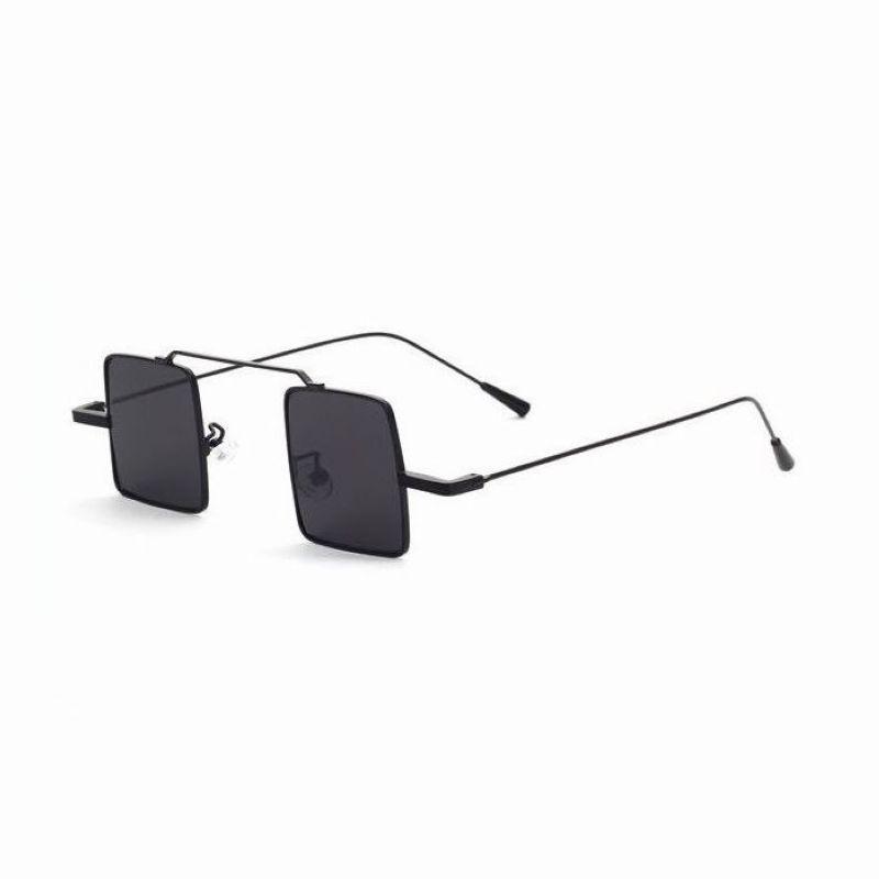 cf24e9e11d Small Square Wire Unisex Sunglasses Metal Black Frame Grey Lens ...