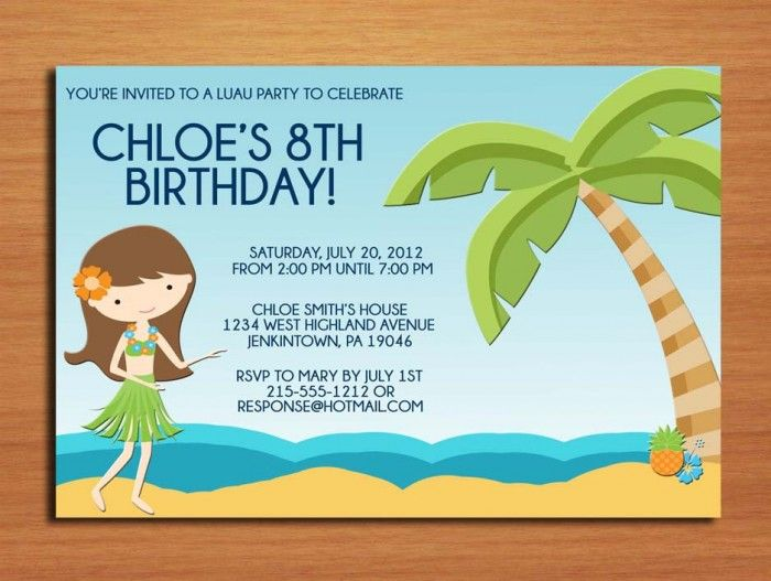 Birthdays InvitationLuau Girl And Beach View Clip Art Feat Dark Blue Lettering For Kids Birthday Party Invite WordingInspirations
