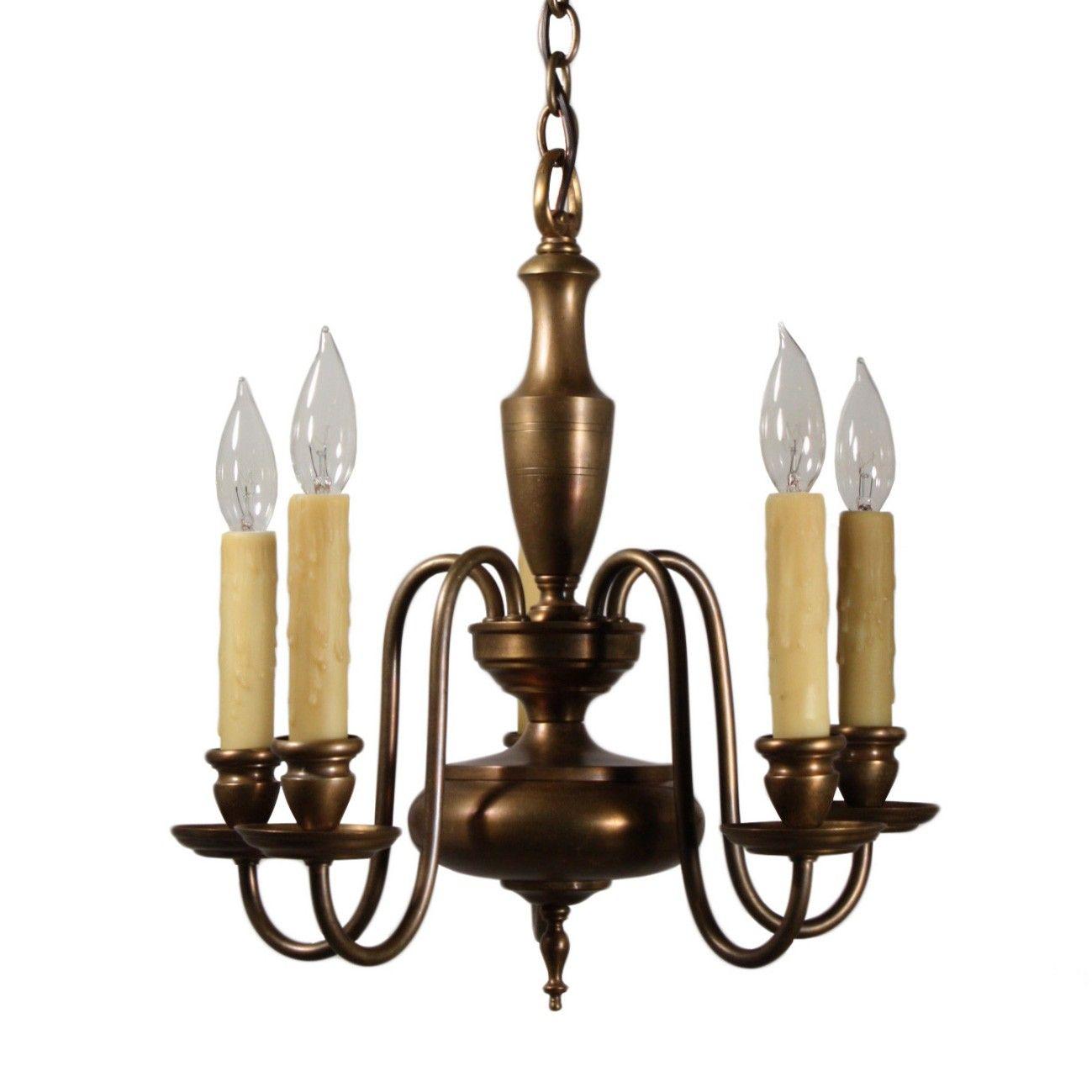 SOLD Beautiful Antique Five-Light Colonial Revival Chandelier Brass  sc 1 st  Pinterest & SOLD Beautiful Antique Five-Light Colonial Revival Chandelier Brass ...