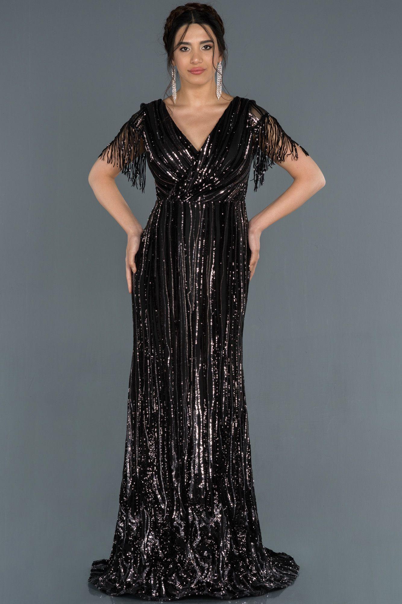 Siyah Gumus Kollari Puskullu Pul Payetli Abiye Abu1342 2020 Moda Stilleri The Dress Elbise Modelleri