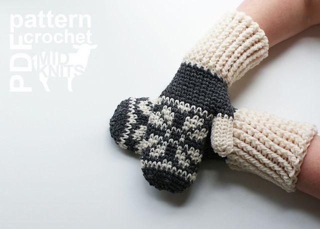 Fair Isle Crochet Snowflake Mittens (2016001) pattern by Erin ...