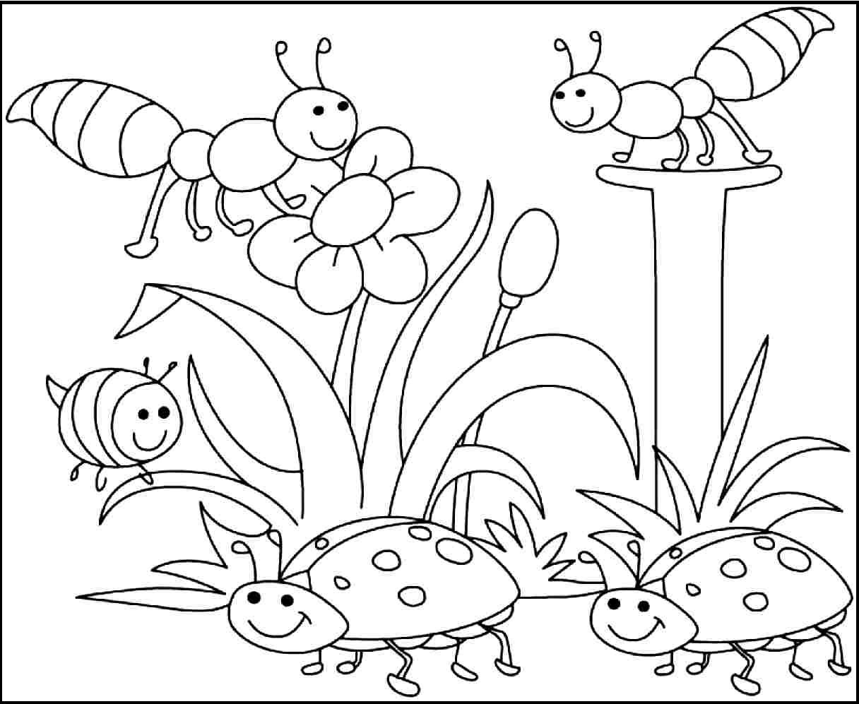 Insects Pleased With Spring Day Coloring Pages For Kids Printable