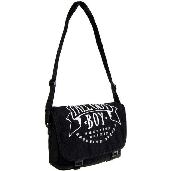 Fall Out Boy American Beauty Messenger Bag (Black) ($46) ❤ liked on Polyvore featuring bags, messenger bags, black messenger bag, black bag, american bag, messenger bag et courier bag