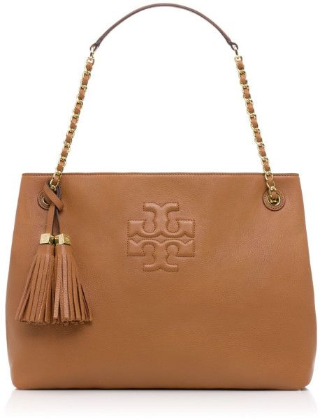 c7e34d1f5d4 Tory burch Thea Chain Leather Tote in Brown (BARK)