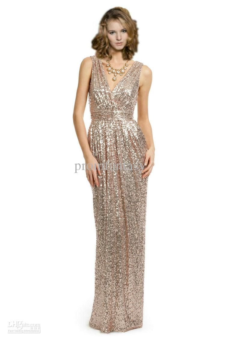 Gold Bridesmaid Dress. Elegant and Glamorous. Wholesale Evening Dresses -  Buy 2013 Shiny Light Gold Sequined Lace Long Fitted V-Neck Sexy Affordable  Wedding ... 28221f2d9d61