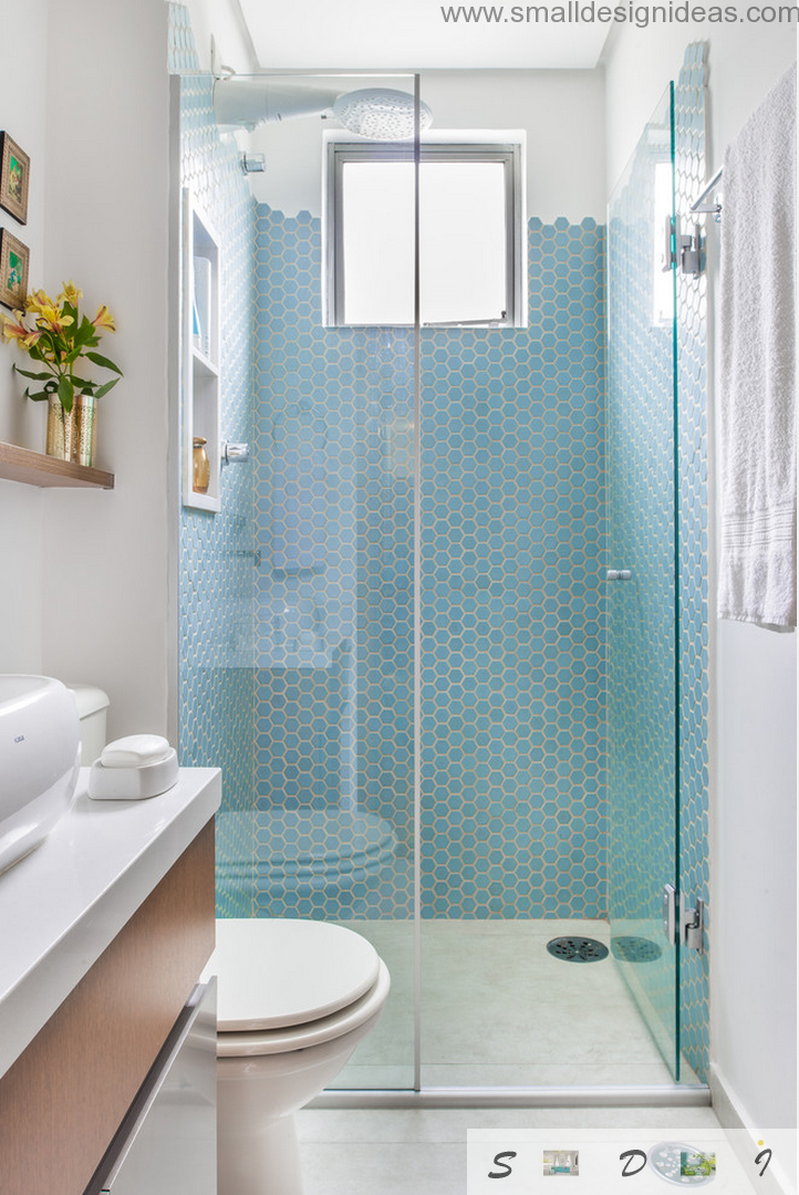 Extra small bathroom design ideas of neat blue mosaic Small bathroom design ideas with shower