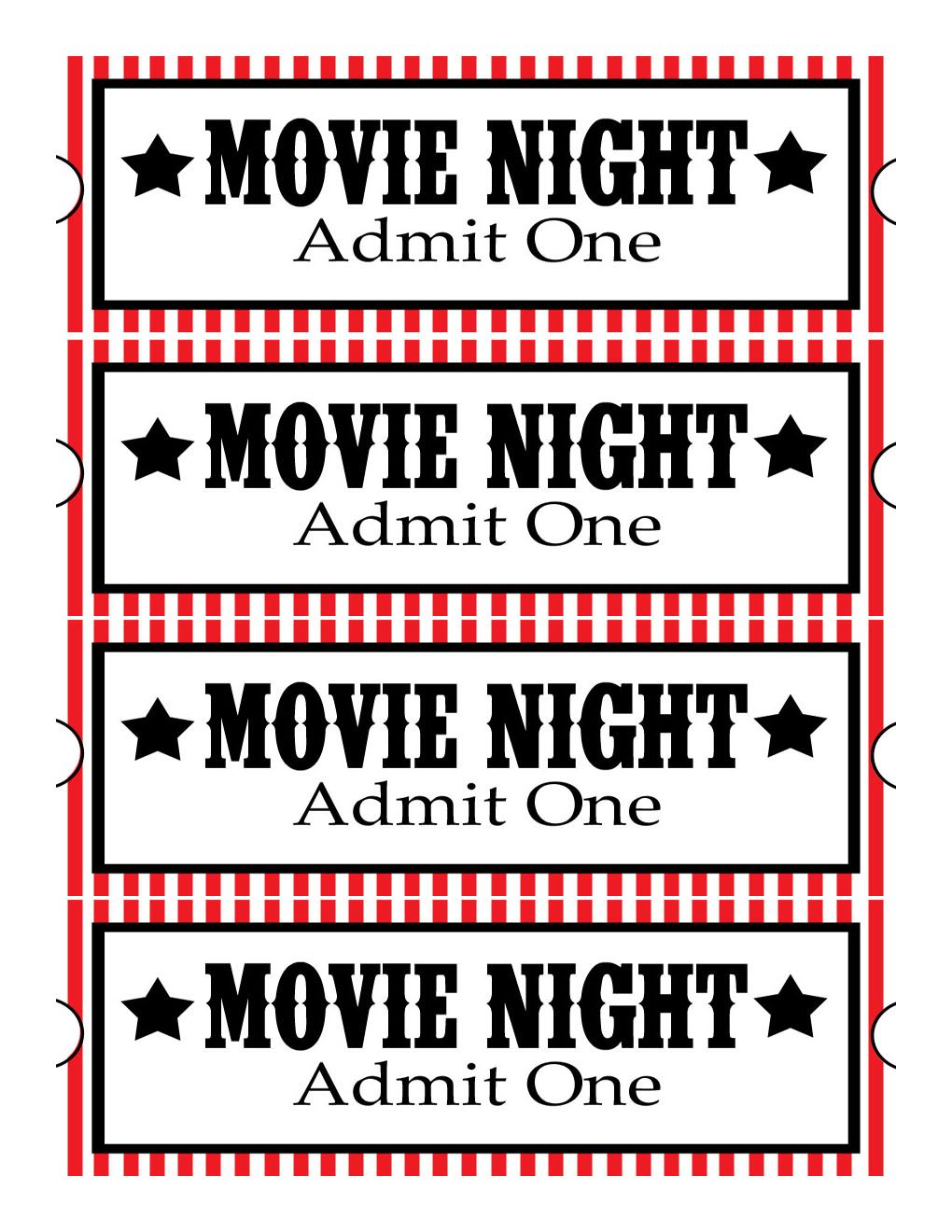 Sweet Daisy Designs Free Printables Home Movie Theatre Night – Free Printable Movie Ticket Template