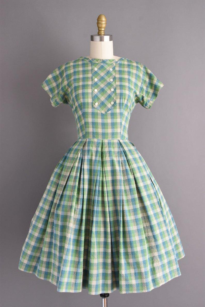 50s Dress Green Plaid Print Short Sleeve Full Skirt Day Dress Xs Small 1950s Vintage Dress Plaid Dress Vintage Mod Cloth Dresses 50s Dresses [ 1188 x 794 Pixel ]