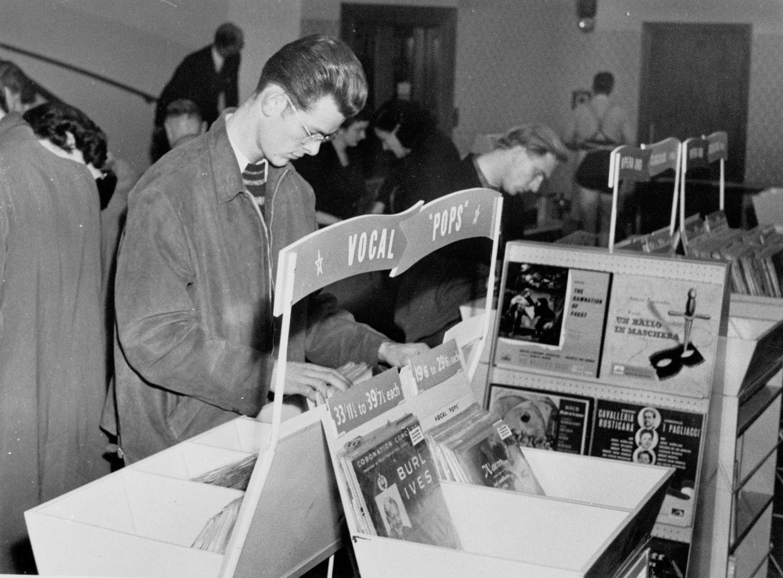Browsing in HMV at 363 Oxford Street, 1953.