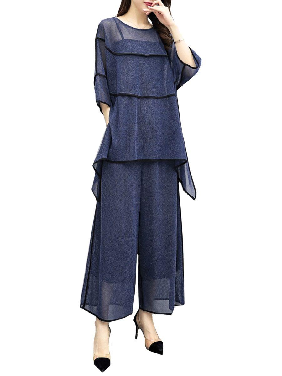 2735656e19c Buy Women s 2Pcs Three Quarters Plus Size Loose Wide Leg Pants Suits    Women s Two Pieces Suits - at Jolly Chic